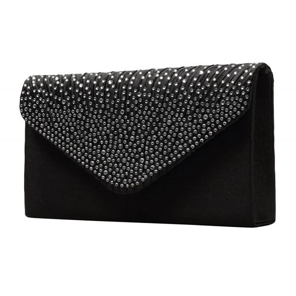 bace9fa6032 ... Womens Evening Bag Envelope Satin Rhinestone Frosted Handbags Wedding  Party Bridal Clutch Purse - Black - C2187ECXC5N. Sherpani Lucky Wristlet  Wallet