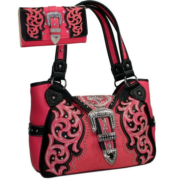 New Arrival Floral Embossed Handbags Crossbody Bags for Women Leather Satchel Purse by Jack&Chris