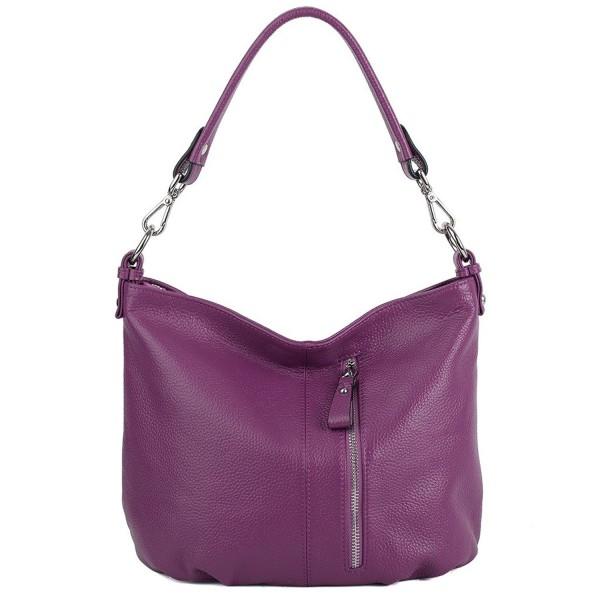 top-rated original wholesale online factory Women's Front Pocket Soft Cowhide Leather Small Mini Purse Hobo Style  Shoulder Bag - Purple - CD12NUM863G