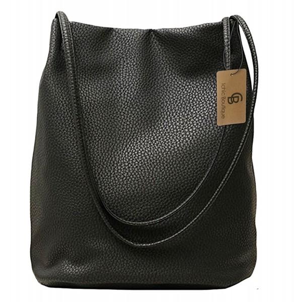 9bfa37e4fdcf Bucket Bag Womens Leather Handbags Purse Tote Hobo Shoulder Bags - Black -  CB1839G5RDZ