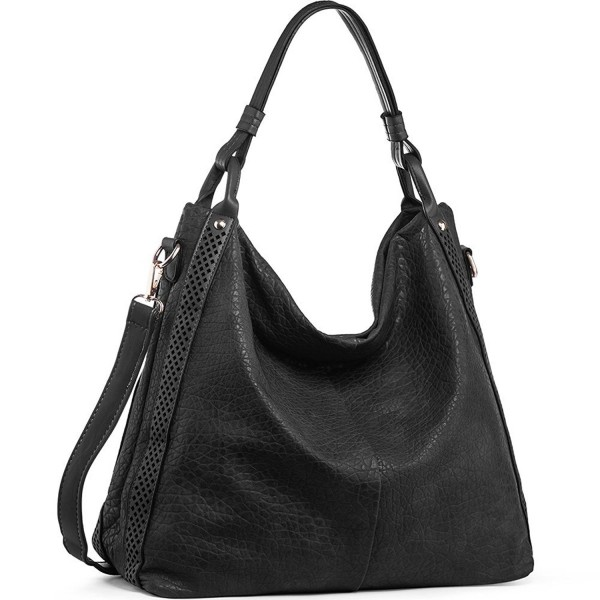 4fba82190f98 ... PU Leather Zipper Tote Bags - Black - C2187EUL2L3. WISHESGEM Handbags  Top Handle Shoulder Leather