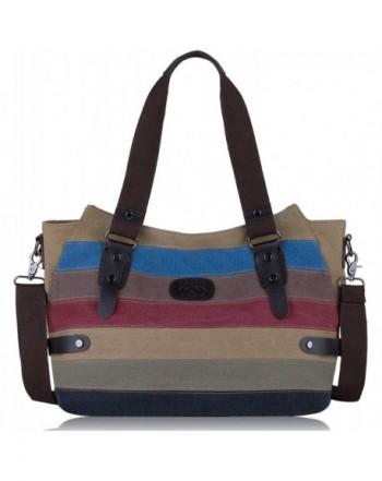 Coofit Canvas Handbags Striped Shoulder