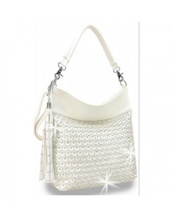 Laser Cut Circle Sparkle Hobo Bag - White - CF182H7A9A0 b28ff9294aeca
