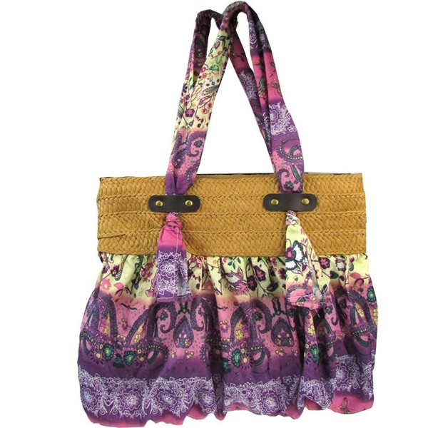 d0e1d6eccde8 Donalworld Bohemia Floral Straw Woven Bags Summer Beach Shoulder Bag -  Purple - CH12E73TI0F