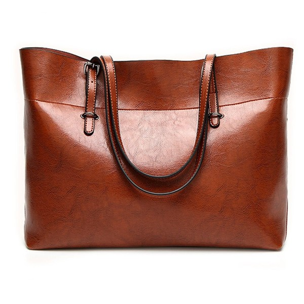 Leather Tote Bag For Women Large Commute Handbag Shoulder Zipper S Work Satchel Brown C1188xeyxh4