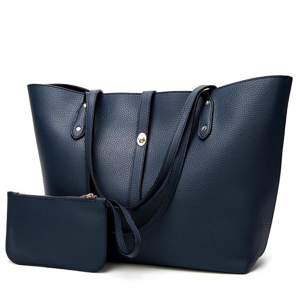 679f9251285 Women Purse Handbags Wallets Bag Set Shoulder Bag Large Tote Bag Top Handle  Satchel - Navy Blue - CB18690EYAT