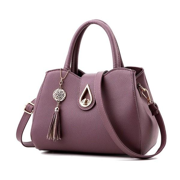 aa8d7195d500 Women Small Satchel Purses Dumpling Shaped Tote Bags Shoulder Tassel  Handbags - Darkpurple - CA12N75IC3K