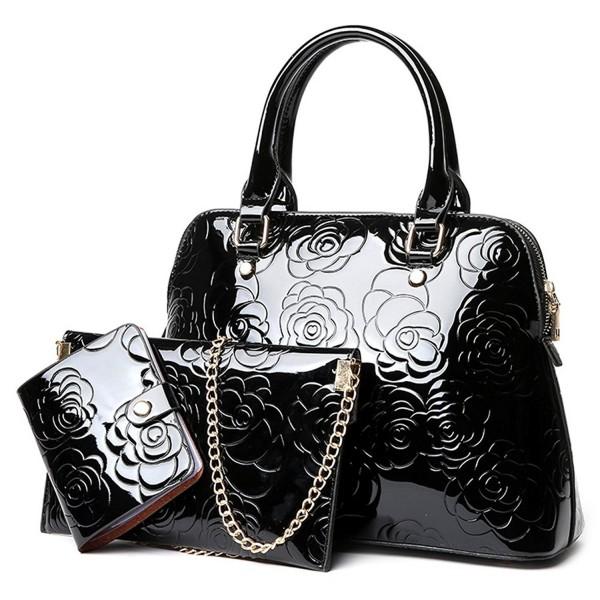 QZUnique Womens Patent Leather Satchel