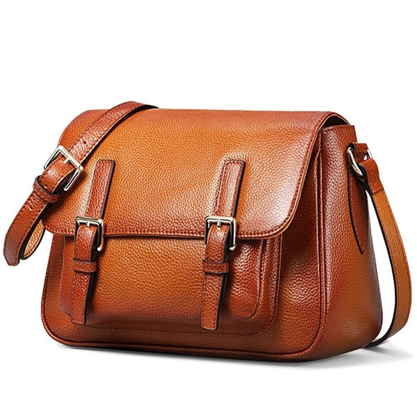 On Women S Vintage Genuine Leather Crossbody Bag Shoulder Satchel Handmade Purse Brown Cx12b60qsvt