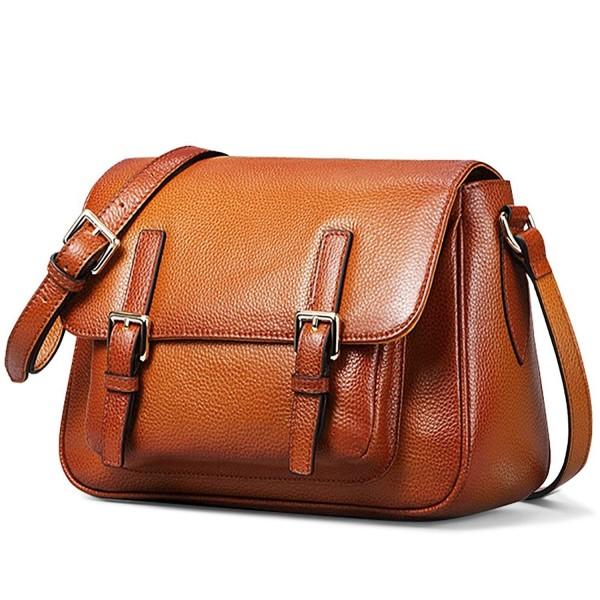 On Sale Women's Vintage Genuine Leather Crossbody Bag Shoulder Satchel Handmade Purse Brown Brown CX12B60QSVT