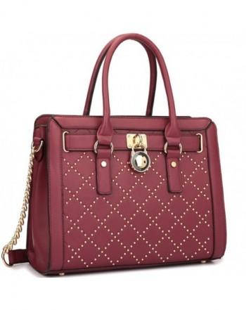 Leather Satchel Handbags Shoulder 7102 Burgundy