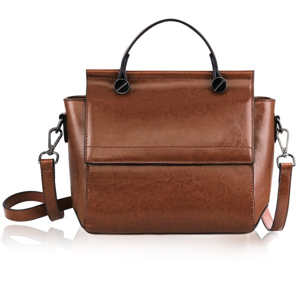 e61978fbfcd9 On Clearance - Women's Genuine Leather Small Crossbody Bag Shoulder Bag  Handbag Purse Flap Satchel - Brown - C0185GY3MHI