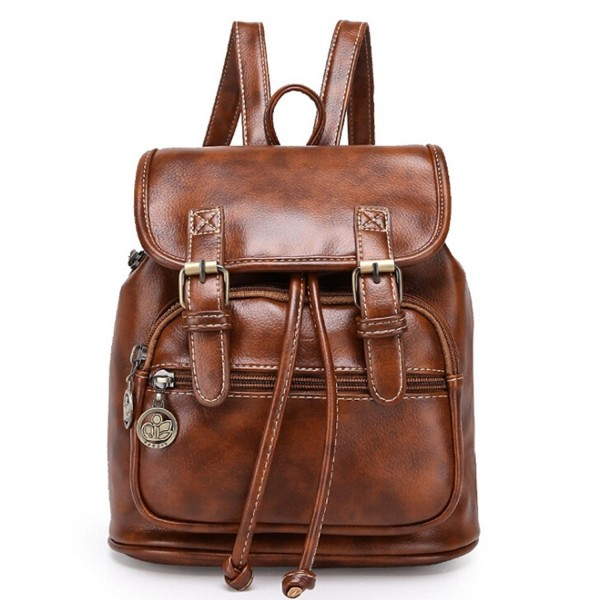 Angelliu Vintage Leather College Backpack
