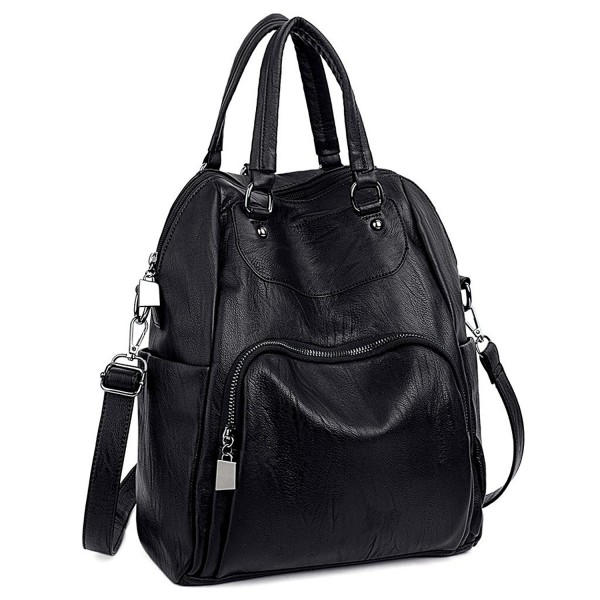 086f92ce4fd4 Women Backpack Purse PU Washed Leather Convertible Ladies Rucksack  Crossbody Shoulder Bag - Black - C91843Y5IHC