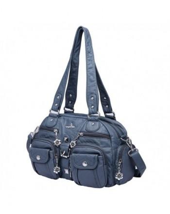 2 Top Zippers Large capacity Handbags Washed Leather Purses Shoulder ... d590797af854d