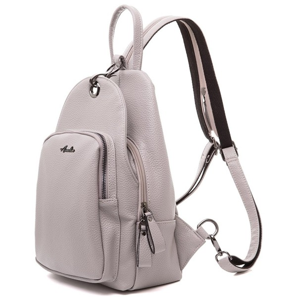 9e53e987aff Leather Small Fashion Backpack Purses Shoulder Bag By AMELIE GALANTI -  L.grey - CP182L8Z5XN