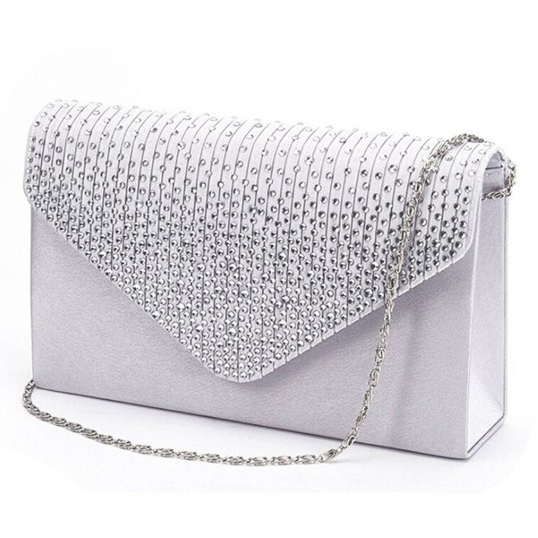 3fc978e87 Women Rhinestone Frosted Evening Clutch Bag Classic Pleated Envelope ...