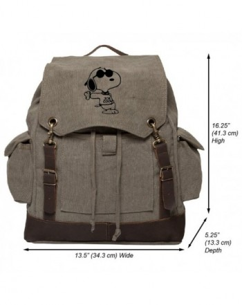 Snoopy Canvas Rucksack Backpack Leather