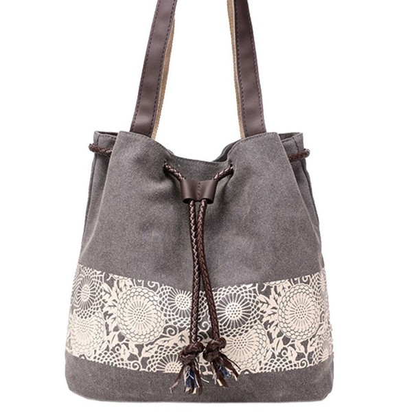 wholesale dealer high quality 50-70%off Women Cute Canvas Tote bags Cross Body Bag Purse Shoulder Bag for Girls -  Gray - C312ED8JIHR