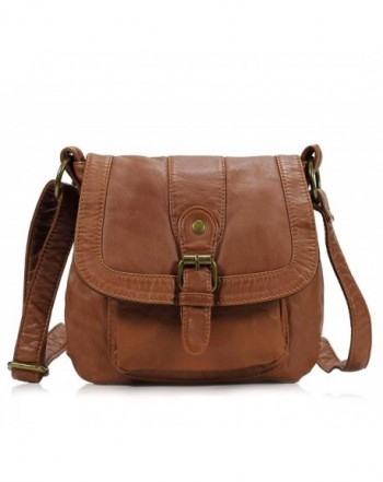 Small Soft Washed Front Pocket Crossbody Bag H1692 - Brown - C8125F3T3LP 7cb4fae75617a
