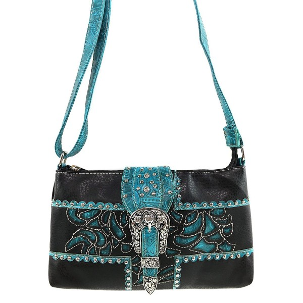 Justin West Embroidery Turquoise Rhinestone