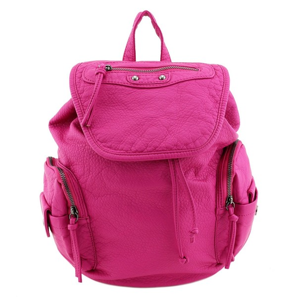 Washed Soft Leather Backpack Fuchsia