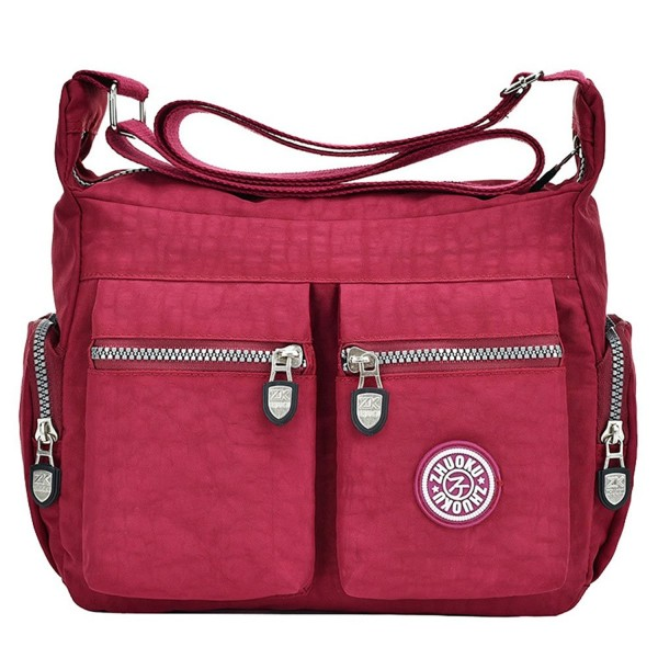 303e2f3134a Fashion Women Nylon Shoulder Bag Waterproof Crossbody Purse Organize Travel  Messenger Bag - B Wine Red - CW186SAYZY0
