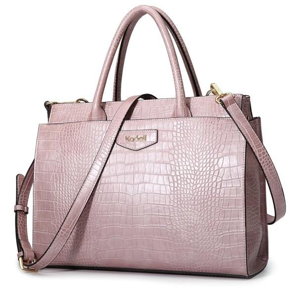 biggest discount discount shop 100% quality Women's Leather Designer Handbags Crocodile Embossed Shoulder Bag Satchel  for Ladies - Pink - CG185O5MXCO
