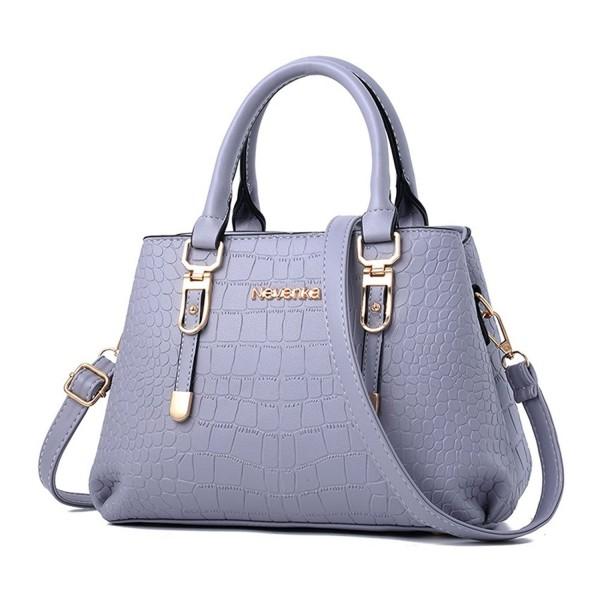 d7ae2e7d478 Women Bags Handbag Shoulder Bags PU Leather Zipper Bags Casual Purse  Crossbody Totes - Blue Gray - C21824UEQND