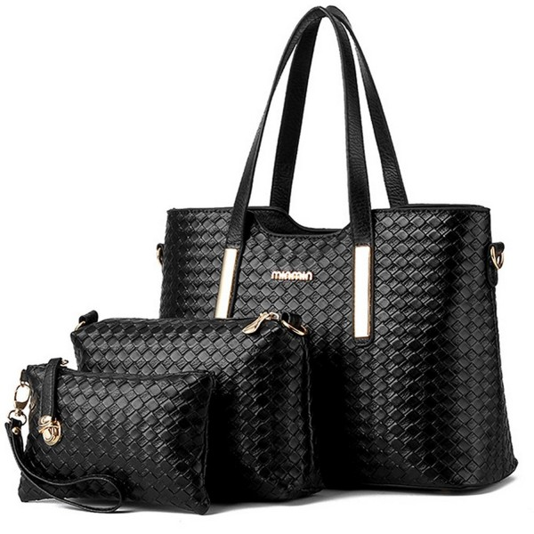 08d8e60a2389 ... Women 3 Piece Tote Bag Pu Leather Weave Handbag Shoulder Purse Bags -  Black - CH12ICB3MTL. Vincico174 Women Leather Handbag Shoulder