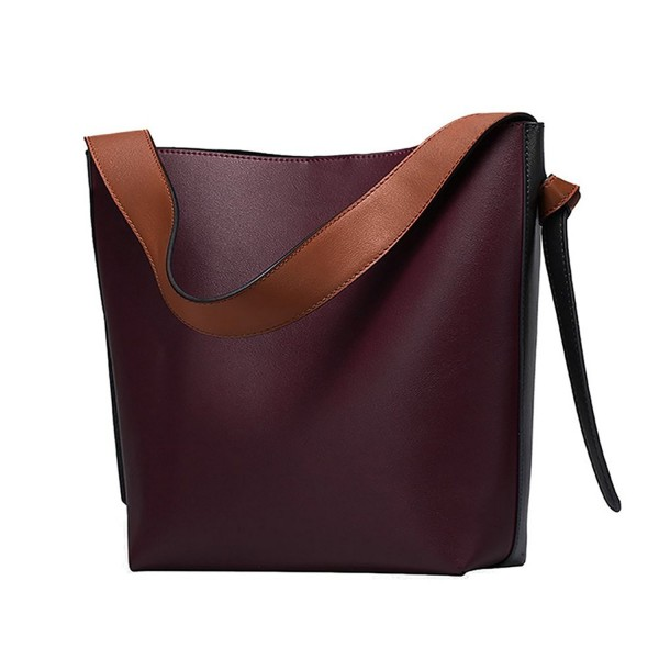 Color Leather Tote Shoulder Bag