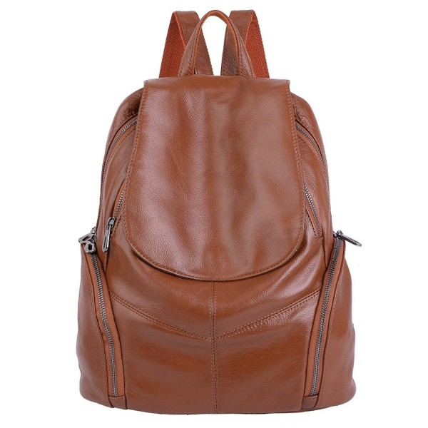 YALUXE Capacity Pockets Leather Backpack
