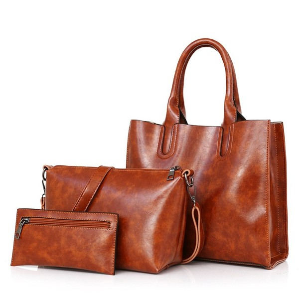 2f0e4bc011f66 ... Women Purses and Handbags Designer Leather Satchel Tote Bag 3 Piece Bags  Sets - Brown - C4186YNYZSL. Handbags Designer Leather Satchel Shoulder