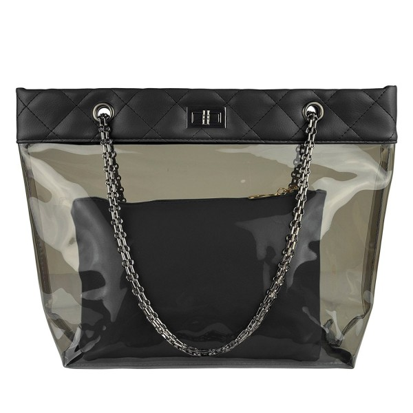 Color Quilted Chain Strap Clear Handbags