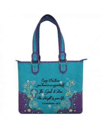 Embroidery Scripture Country Handbags Turquoise
