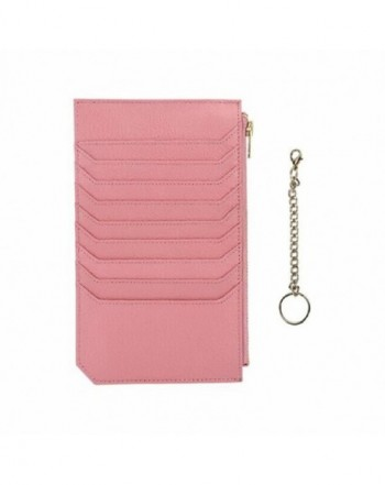 Womens Credit Genuine Leather Blocking Pink