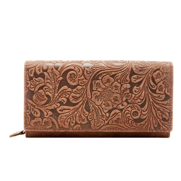 d8a9b97cde2b Genuine Leather Wallet Embossed Floral Womens Accordion 10 Card Slots RFID  Blocking - Brown - CL12K5RUYZ5