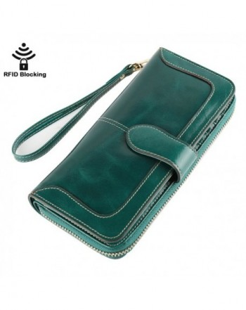 Womens Blocking Genuine Leather Wristlet