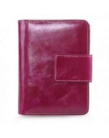 AINIMOER Genuine Leather Bi Fold Red