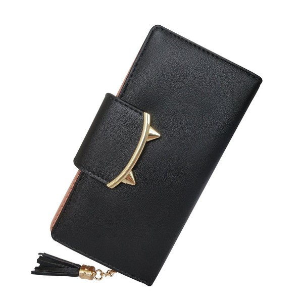 premium selection 73fd8 5b759 Adorable Cat Ears Coin Purse for Ladies Long Wallet Money Clip Card Case -  Black - CC182K6MWZY