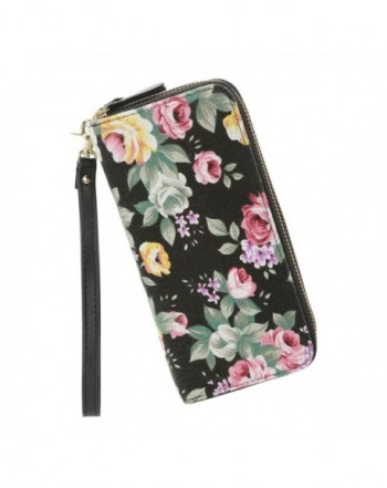 Wallet Zipper Floral Clutch Canvas