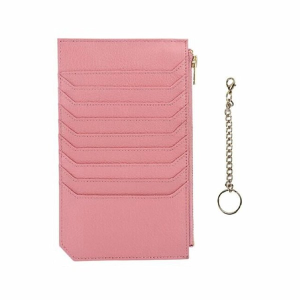 Womens Credit Genuine Leather Blocking Pink