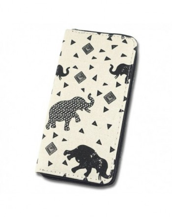 Womens Wallet Animal Elephant Canvas