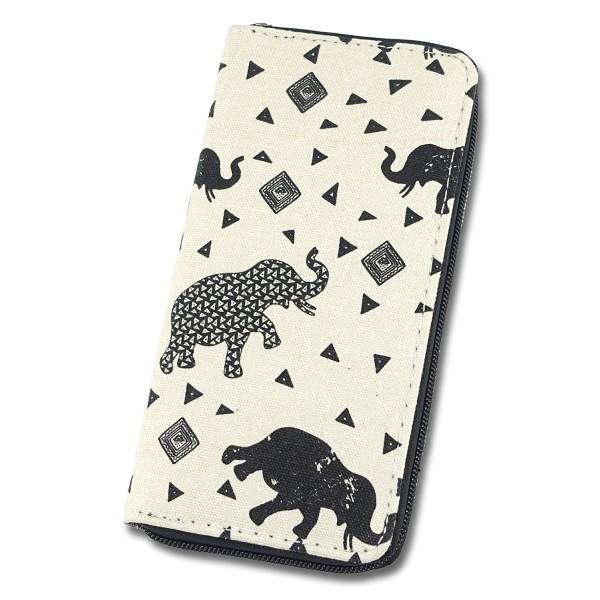 Womens Wallet Animal Elephant Canvas
