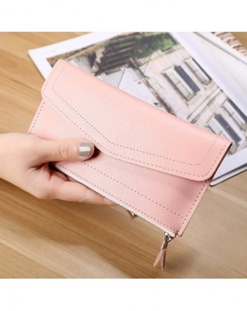 d02228d8b497 Women's Long Soft PU Leather Zipper Ultra-Thin Purse Wallet Ladies&Girls -  Pink - CG184T5TTKZ