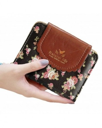 SeptCity Womens Wallet Floral Leather