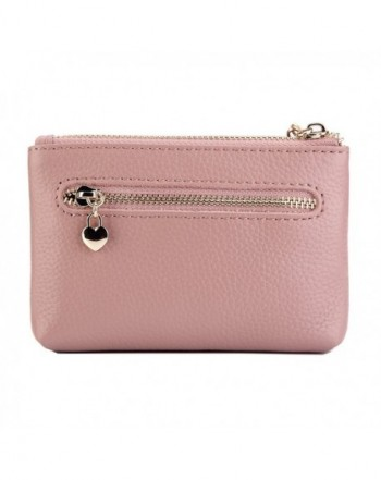 84037abdfc2 Women Genuine Leather Zip Mini Coin Purse With Key Ring Triple ...