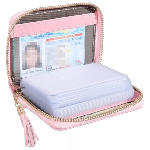 956f9f97a7d Womens Credit Card Holder Wallet Genuine Leather RFID Small ID Case - 20  Card Slots - Pink - CJ187HZLXZ4