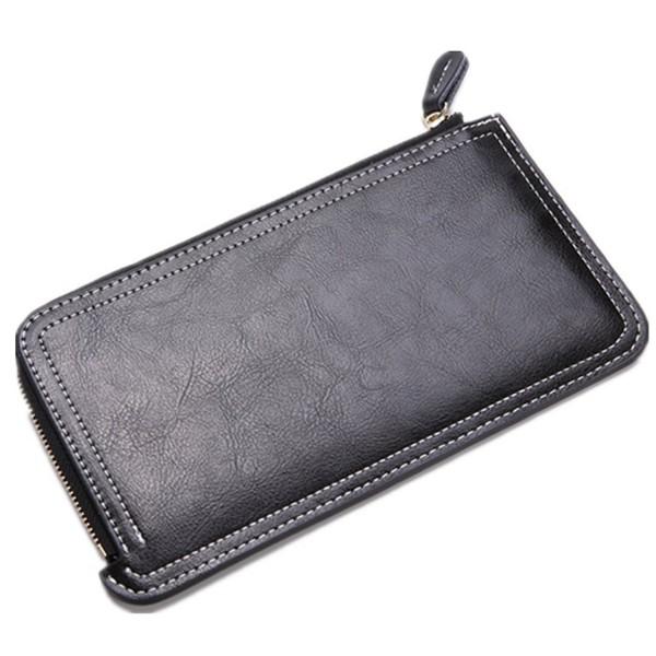 acbe11350257 Women's Genuine Leather Multi Card Holder Thin Wallet with Zipper Purse -  Black - CX182IK3CE3