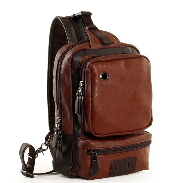 25195cc52a37 Men's Leather Front Sling Backpack Satchel Shoulder Bag Chest Cycle Day  Packs - Brown - CI1833M7U0X
